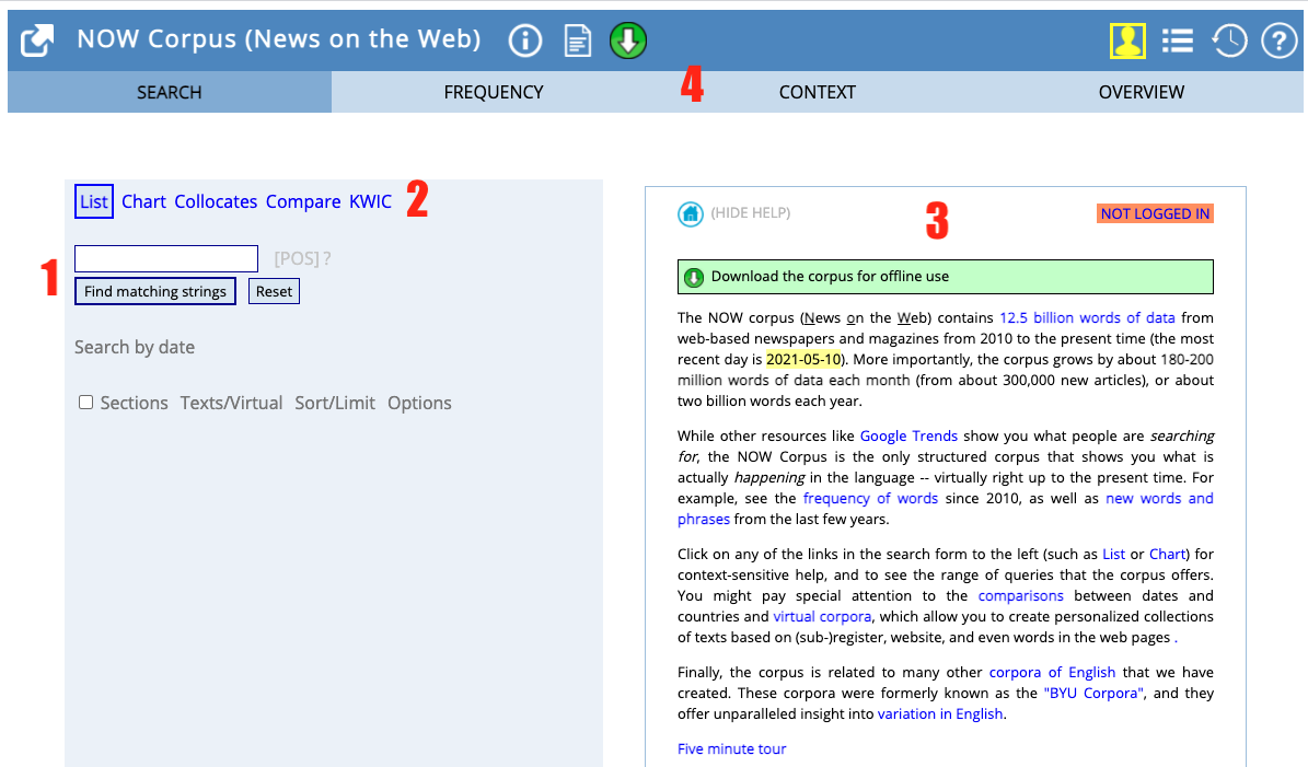 sample corpus landing page showing the various options