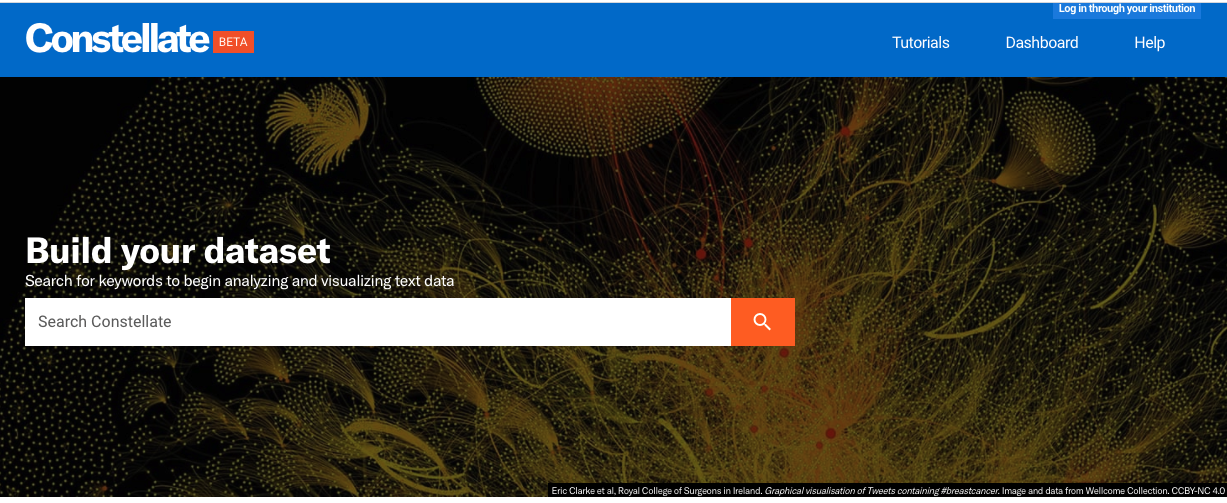 Constellate landing page: search box to build data sets in the bottom third, with additional options on the top third)